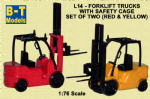 BTO L14 Base Toys Forklift C/W Cage Twin Pack (1=Red/1=Yell)